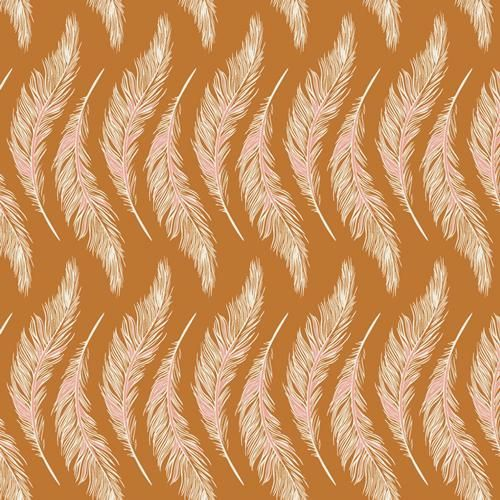 Photo of Fabric PRESENTLY PLUMES GOLD from Art Gallery, Homebody Collection HMB-34955 – continuous yardage in 1/2 yd installments