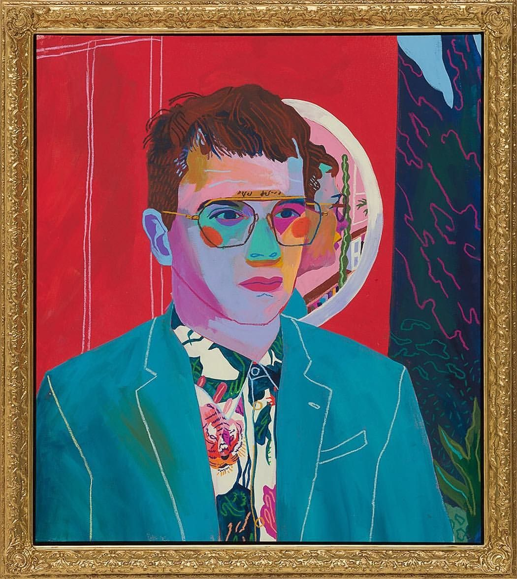 Self Portrait With Mirror In 24k Gold Gilded Artist