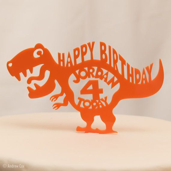 Happy Birthday Cake Topper T Rex Dinosaur Personalised By EtchHog