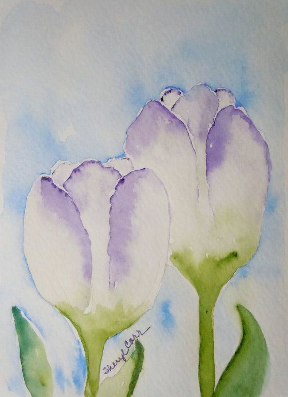 Purple Tulips Watercolor Notecard by FlowersToSend on Etsy, $3.00