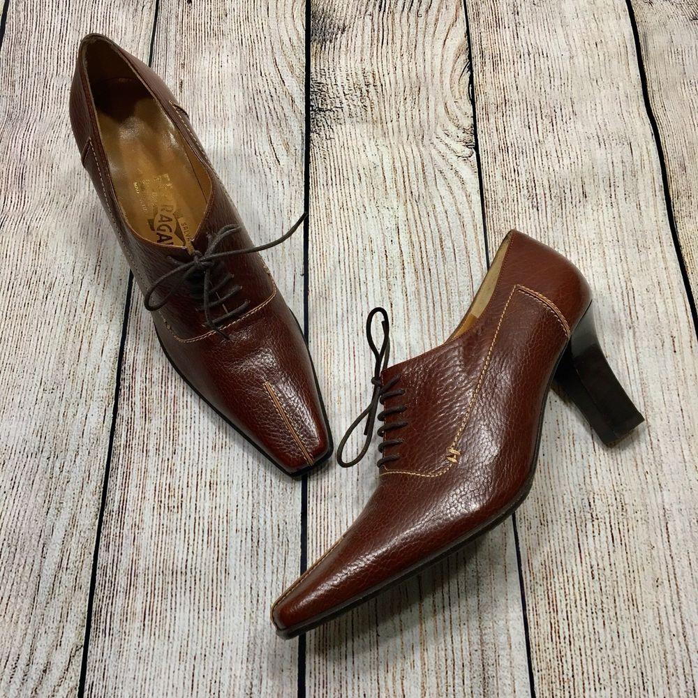 7c9a19092c Salvatore Ferragamo Brown Leather Lace Up Heeled Oxfords Heels Pumps Sz 7B  #SalvatoreFerragamo #Oxfords