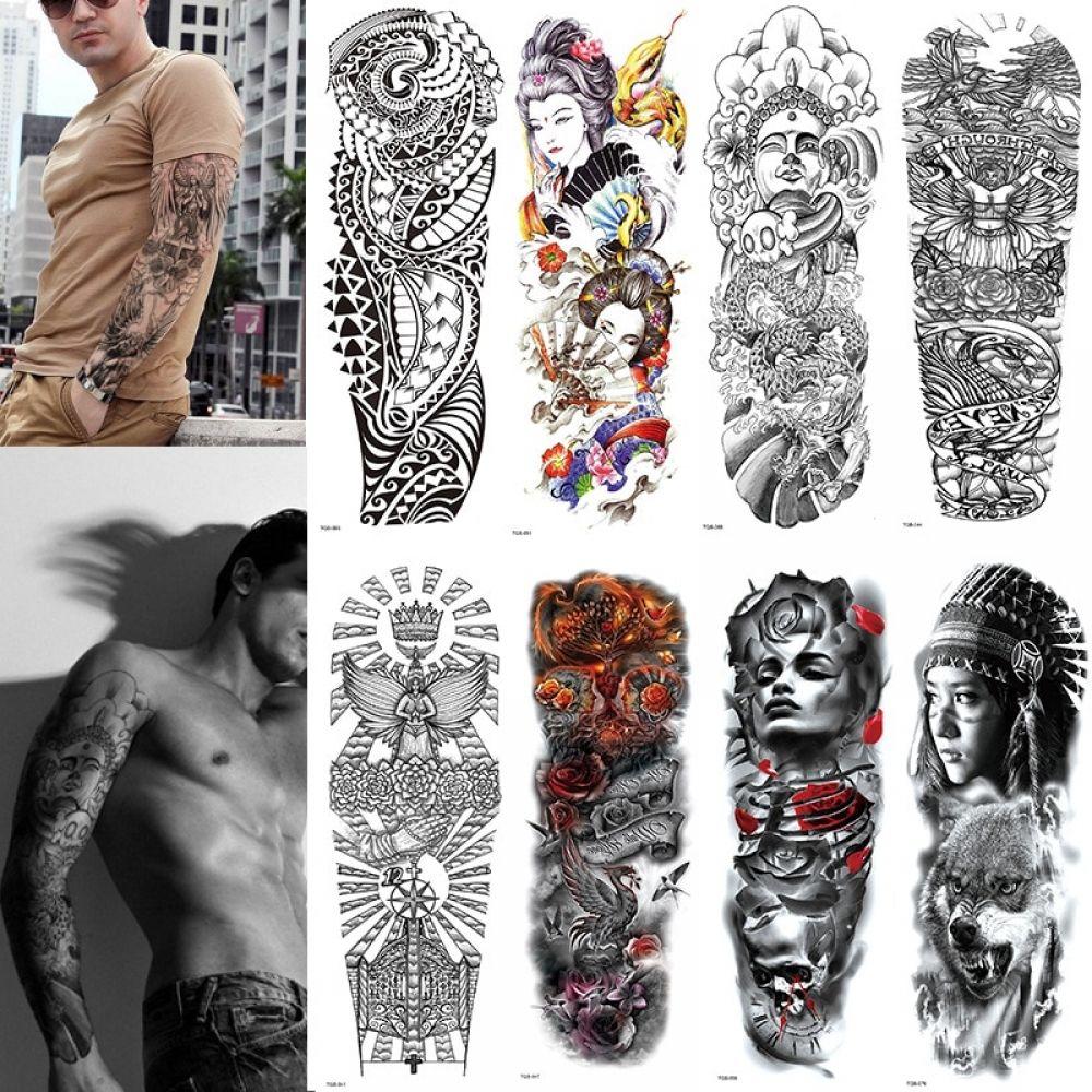 Large Arm Sleeve Waterproof Temporary Tattoo Sticker Skull