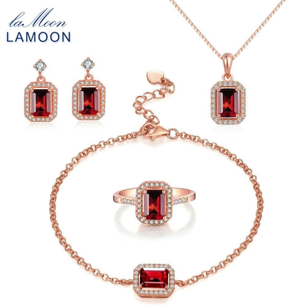 Beautiful Natural Garnet Ring Earrings Pendant Jewellery Sets Necklaces Minimalist Jewelry Sets Boho Jewelry Bohemian Jewelry Wedding Gift