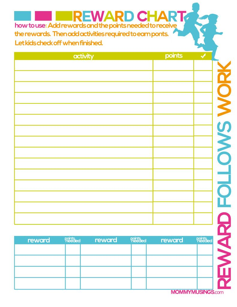 Free Printable Kids Chore  Rewards Chart  Kids Rewards Free