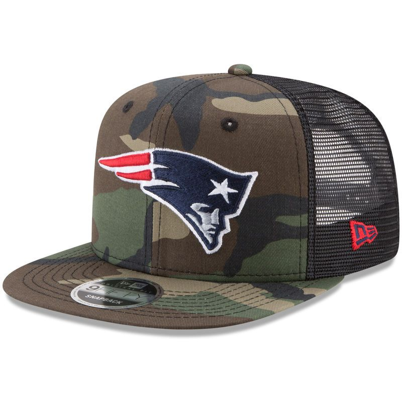 New England Patriots New Era Trucker 9FIFTY Snapback Adjustable Hat -  Woodland Camo Black 959913bbe76