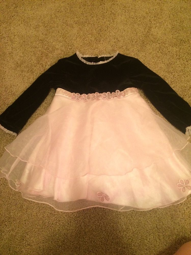 Young Land 24 Month Toddler Baby Formal Dress Velvet And Sheer Pink