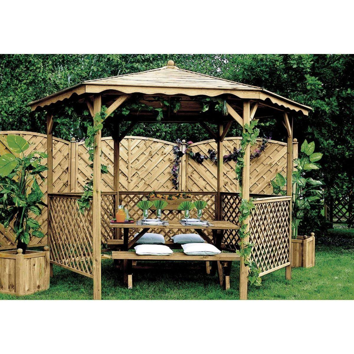 Kiosque En Bois Hexagonal tonnelle de jardin en bois lora - taille : taille unique