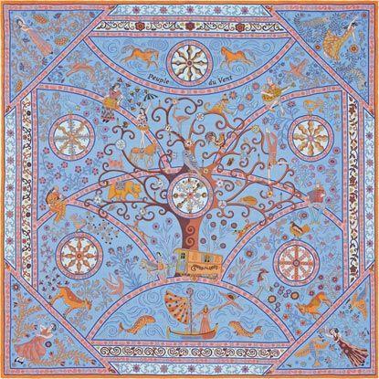 Peuple du Vent by Christine Henry La Maison des Carrés Hermès Silk chiffon  shawl (140 x 140 cm)  cebb09b7357