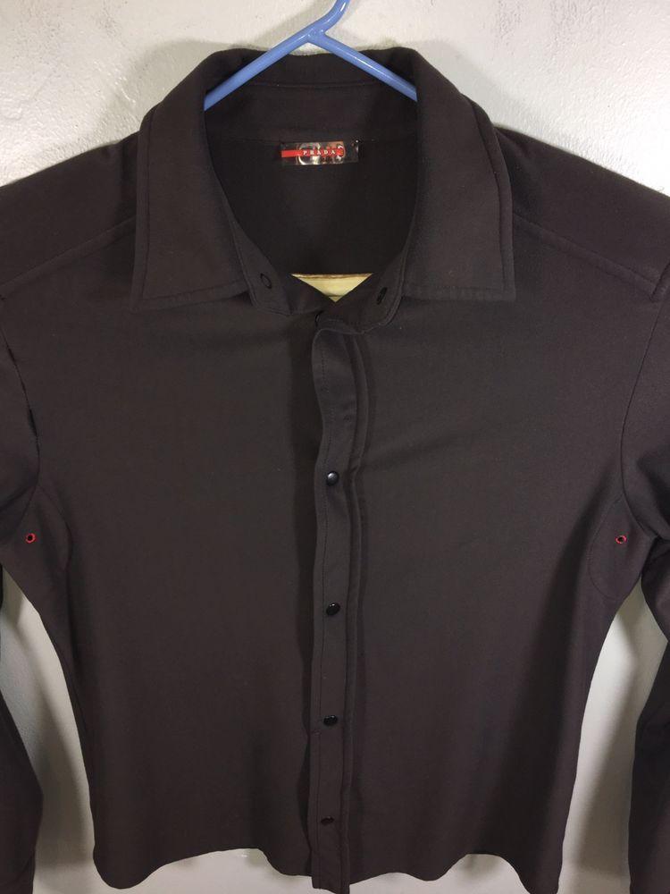 4288008017 Mens PRADA Sport Long Sleeve Snap Button Shirt Medium Dark Brown Used Good  Cond  fashion