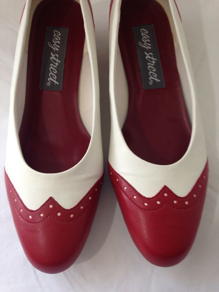 044f7ed7fdda0 Details about WOMENS BROWN WHITE RED OPEN TOE WEDGE PUMPS CAREER ...