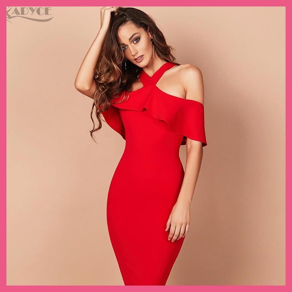 d9fc70de328c Adyce 2018 Hot Sale Winter Party Dress Red Black White Ruffles Patchwork  Off the Shoulder Vestidos