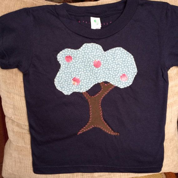 Size 2T Fruit Tree handstitched appliquéd by UpTheLittleMountain, $20.00