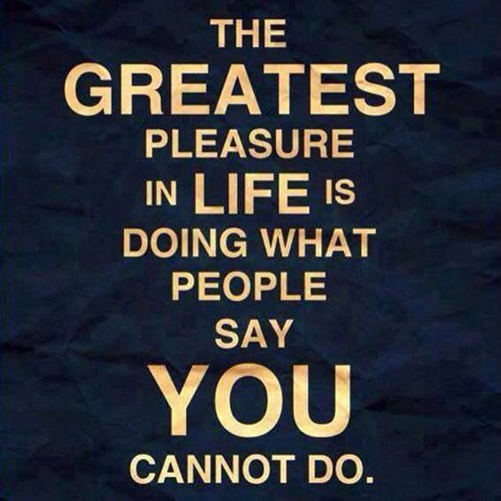 Afbeeldingsresultaat voor the greatest pleasure you can have is doing the people say you can't do