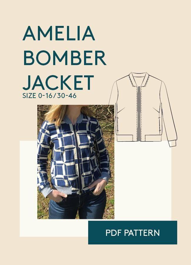 Amelia Bomber Jacket sewing pattern   Pinterest   Jacken und ...