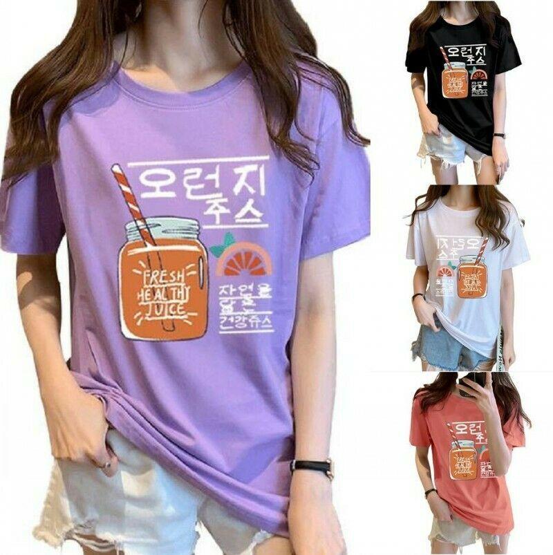 Womens Girls Summer Loose Fit T-shirt 100/% Cotton Oversize Korean Fashion Tops B