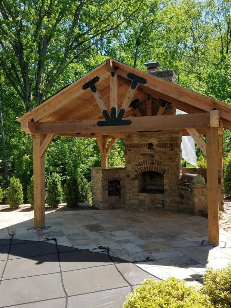 A Backyard Pavilion With A Fireplace Serves As A Multi