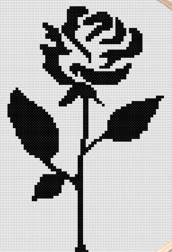Cross stitch pattern of black rose silhouette- modern cross stitch pattern- romantic cross stitch- p