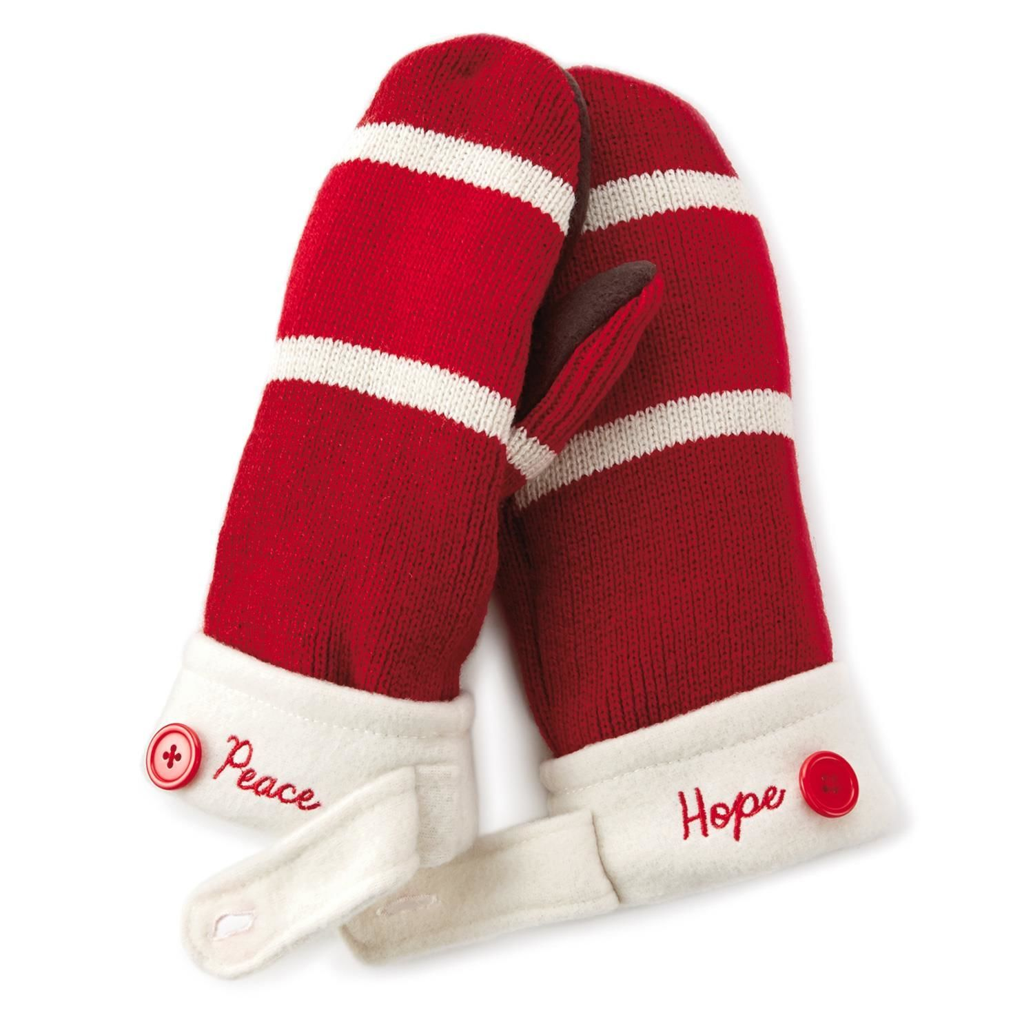 Hope and Peace Striped Holiday Mittens