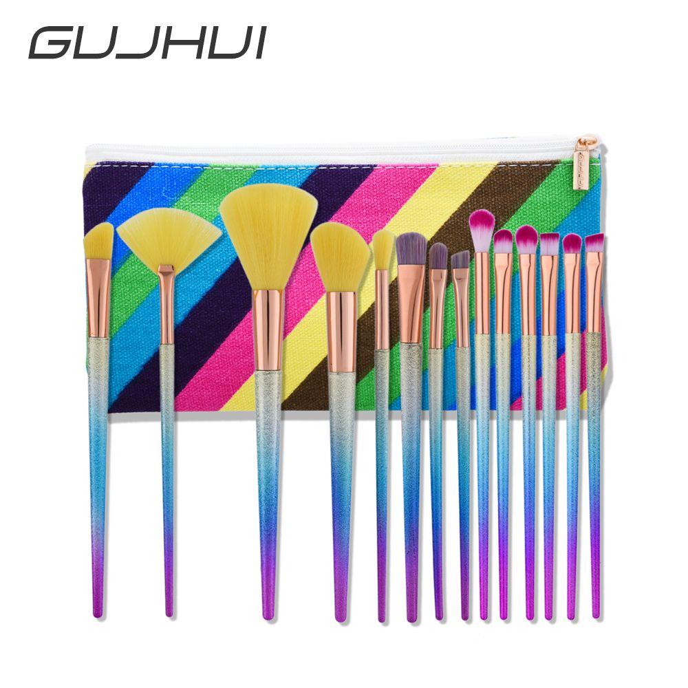 14 Pcs Professional Makeup Brush Set Scrub Rainbow Handle Makeup Brushes Cosmetics Blusher Powder Blending Smooth colorful Brush