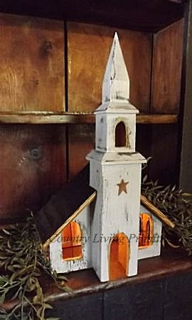 Handcrafted lighted church primitive colonial christmas decorating fine country living primitives
