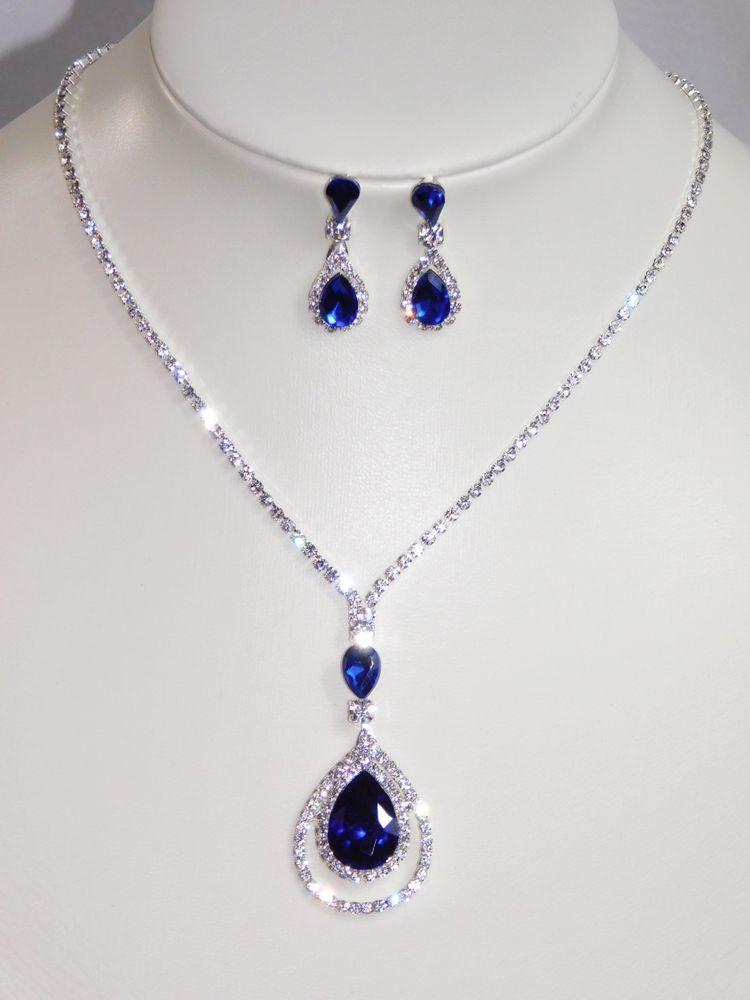 fe5bfaf6c7f8a Silver W. Royal Blue Rhinestone Crystal Bridal Necklace and Earrings ...