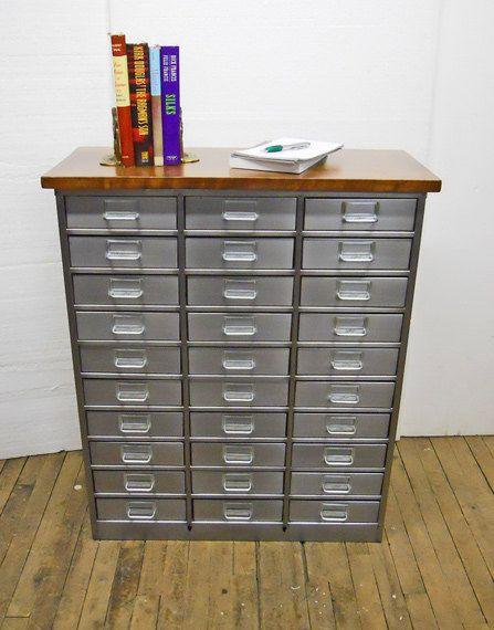 Vintage Metal Organizer Parts Cabinet