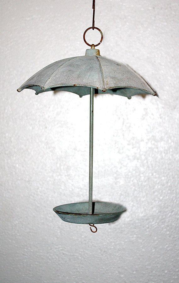 Vintage Solid Iron Hanging Umbrella Bird By Queenieseclectic Umbrella Hanging Vintage