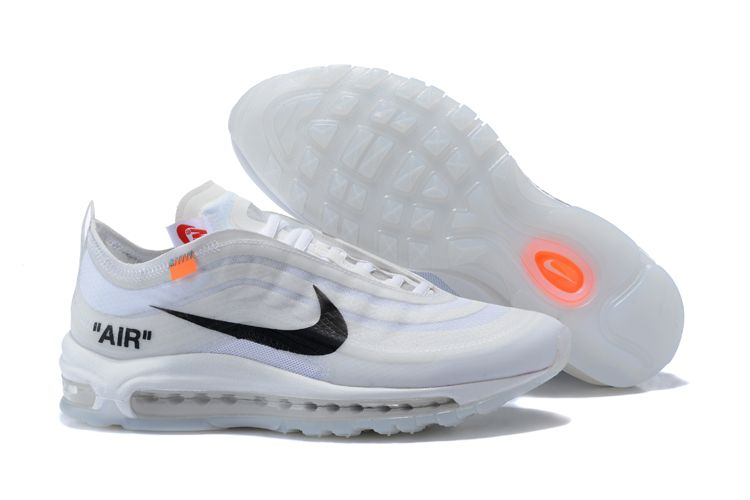 Nike Air Max 97 Men Running Shoes OFF White Black Zashoes