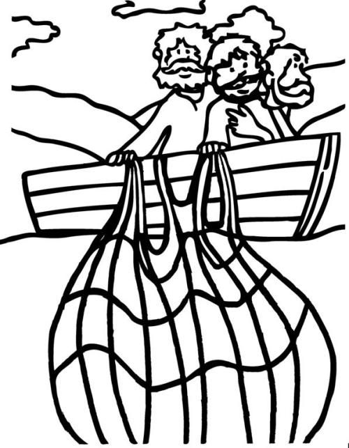 Miraculous Catch Of Fish (Coloring Page) Coloring pages
