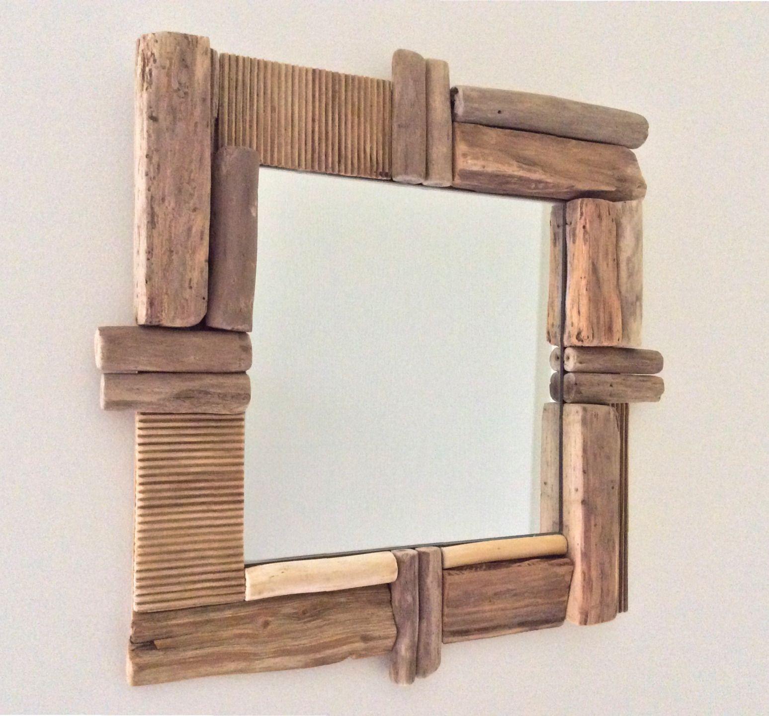 miroir en bois flott par l 39 atelier de corinne d corations murales par atelier de corinne. Black Bedroom Furniture Sets. Home Design Ideas