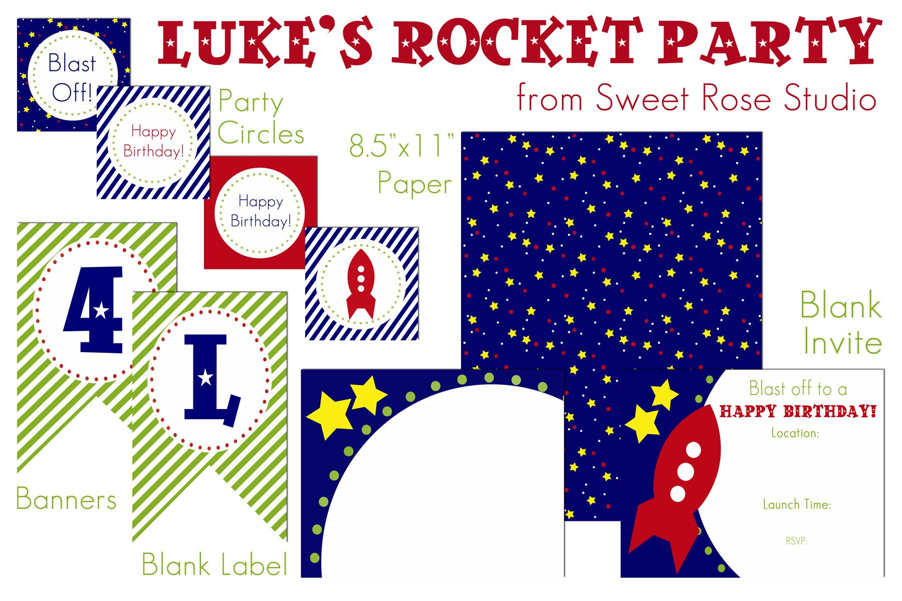 Luke's Rocket Party: The Printables!