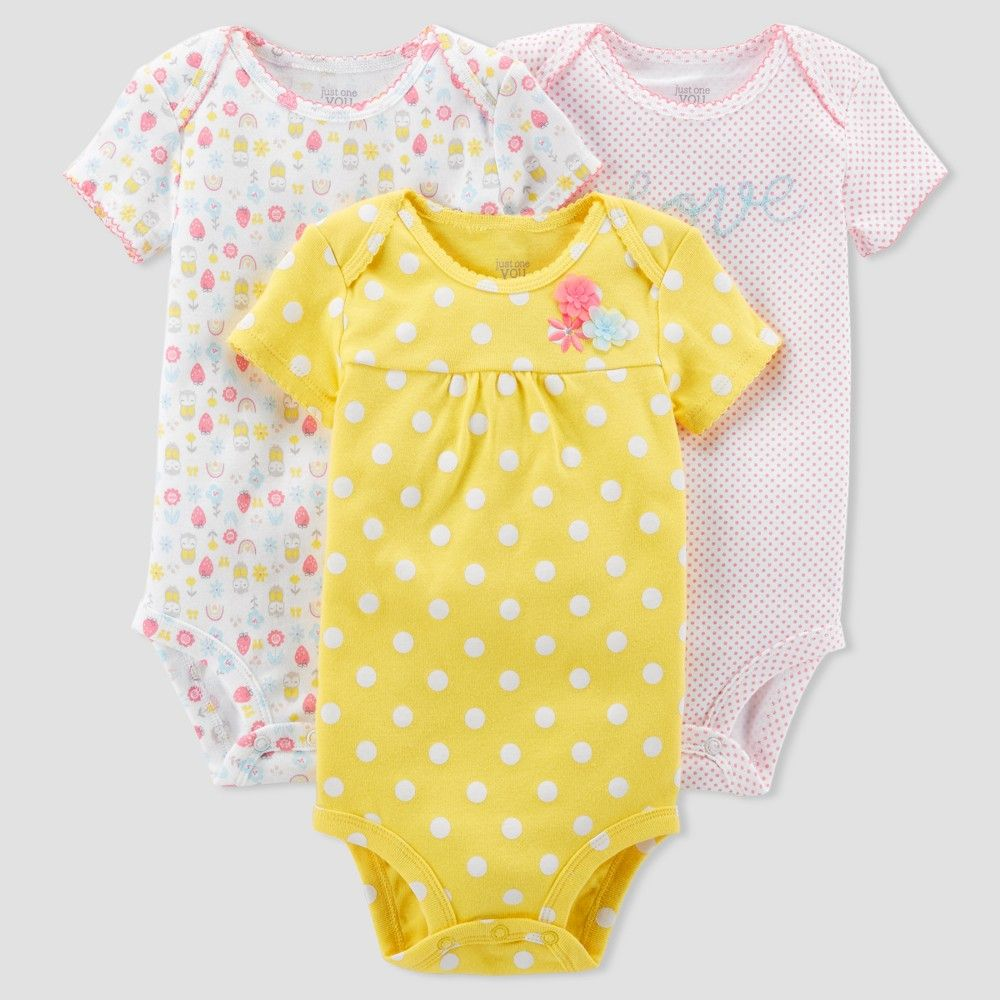 2d7a503ae Baby Girls' 3pk Polka Dot Love Bodysuit Set - Just One You Made by Carter's  Yellow 12M