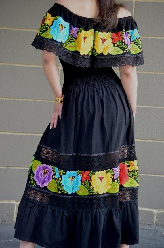 5a5e99f2d76fd Multicolor Embroidered Off Shoulders Mexican Dress Black Lace Crochet