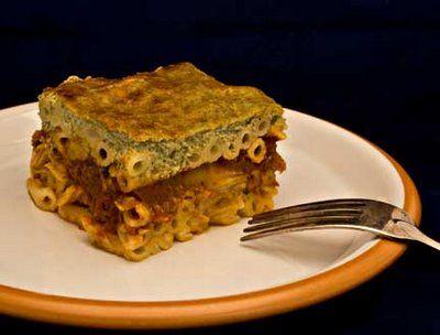 Artichoke pastitsio with basil bechamel