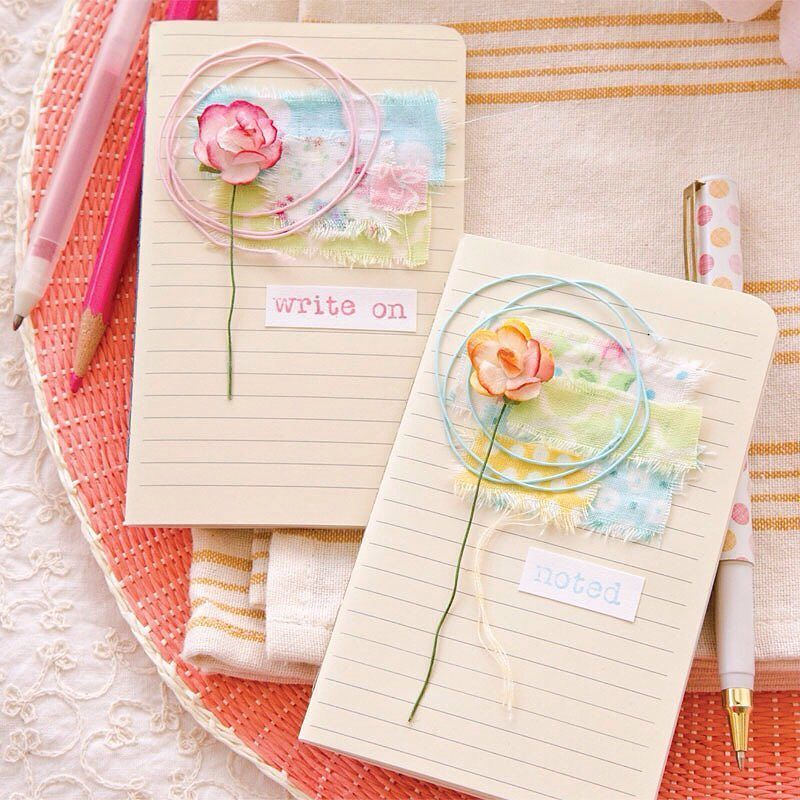 "From stampington on Instagram ""Andrea Ockey Parr removed the covers and layered fabric swatches to create these fun no-sew journals. 