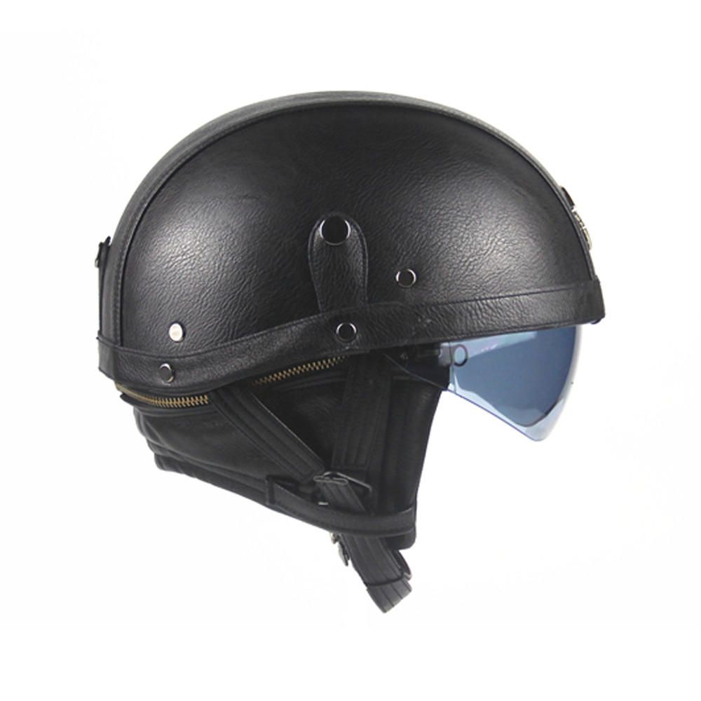 Pu Leather Vintage Size Motorcycle Half Helmet With Sun Visor Detachable Collar Motorcycle Accessories Parts From Automobiles Motorcycles On Banggood Com Helmet Half Helmets Motorcycle Helmets Half