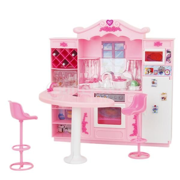 2 Story Barbie Beach House: Barbie Doll Furniture Toy Full Kitchen With Refrigerator