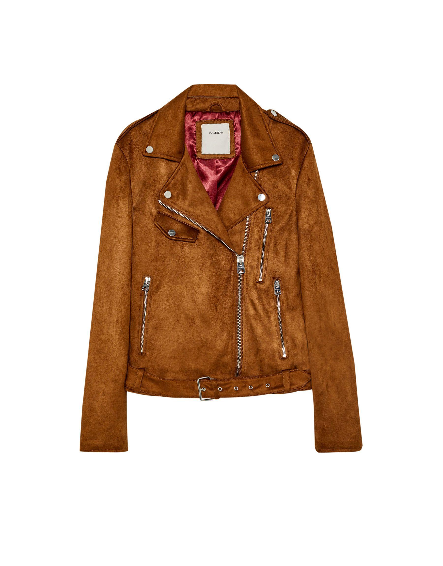 ¡Consigue este tipo de chaqueta de cuero de Pull & Bear ahora! Haz clic  para ver los detalles. Envíos gratis a toda España. Cazadora biker efecto  ante: ...