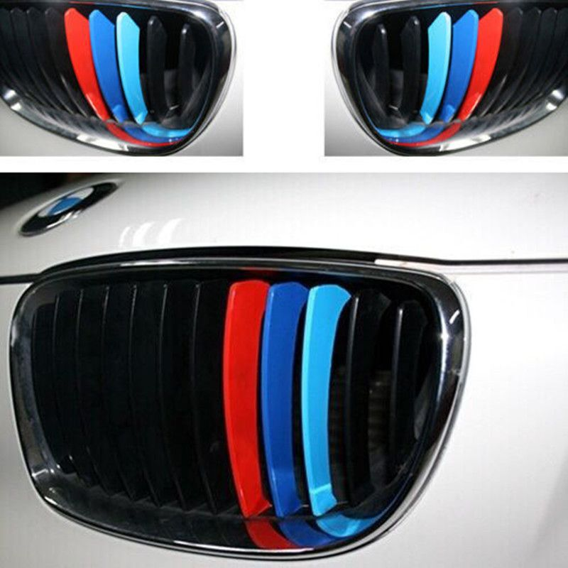 M Color Grill Kidney Stripe Decals For Bmw E X X X - Bmw m colored kidney grille stripe decals
