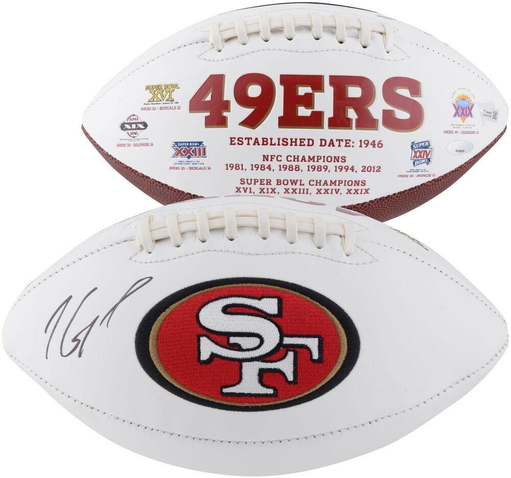 66b7f2e2 Jimmy Garoppolo San Francisco 49ers Autographed White Panel Football ...