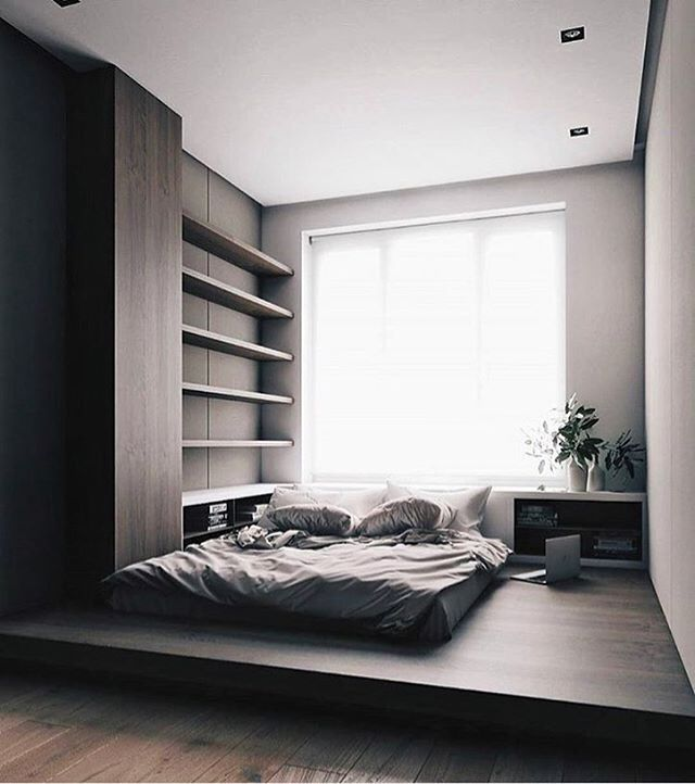 Bed Designs For Small Bedroom Impressive Black Tiny Bedroom With Podium Bed #дизайн #интерьер #дизайн Decorating Design