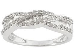Diamond .50ctw Round And Baguette Rhodium Over Sterling Silver Ring