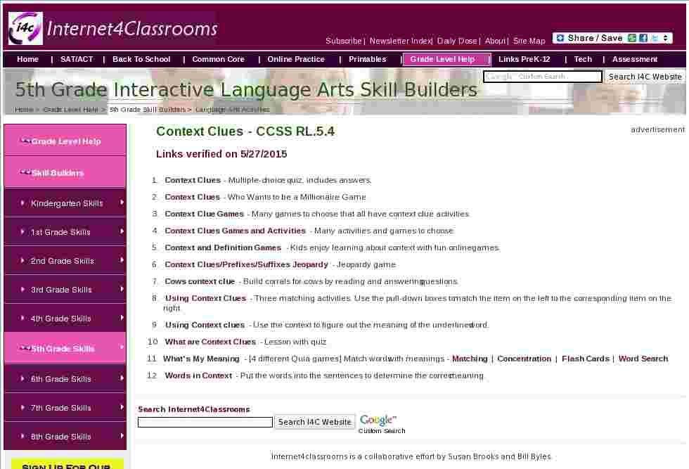 Fifth grade language skill builders context clues