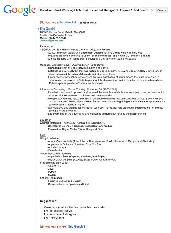 13 Insanely Cool Resumes That Landed Interviews At Google And - google resumes