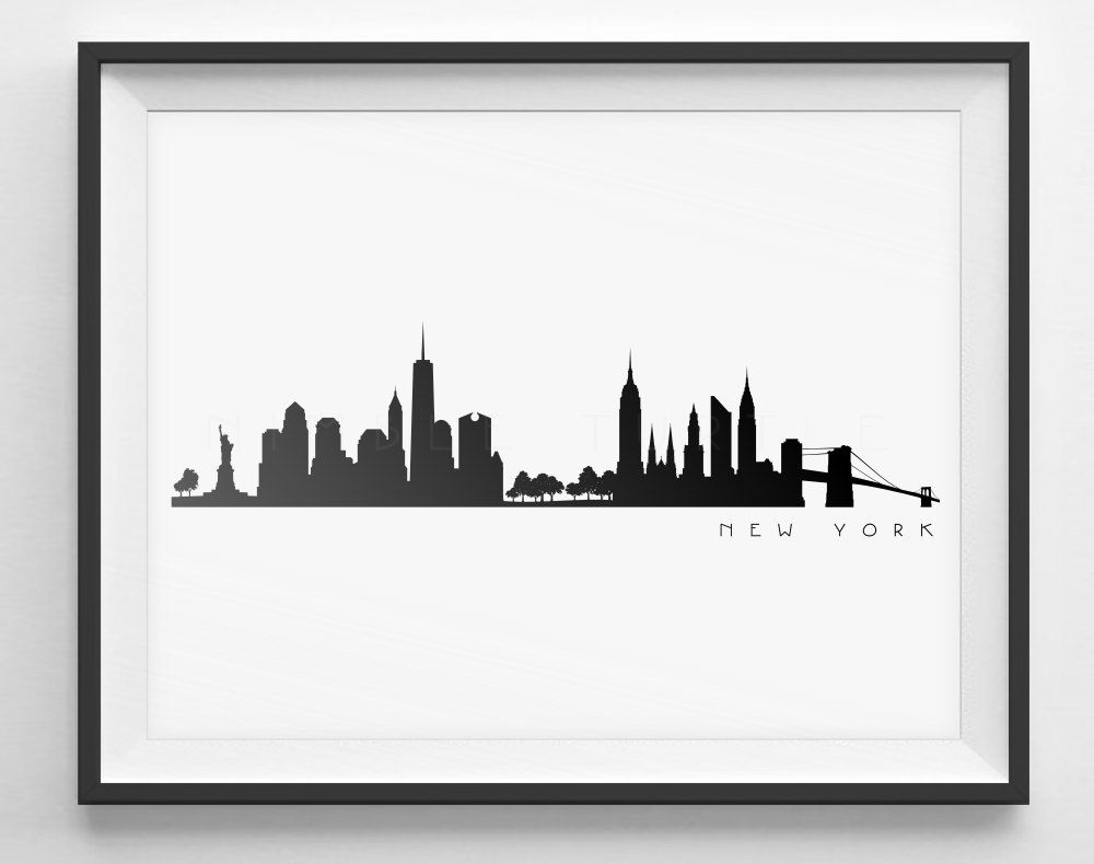City Silhouette Line Art Design New York Drawing City Drawing