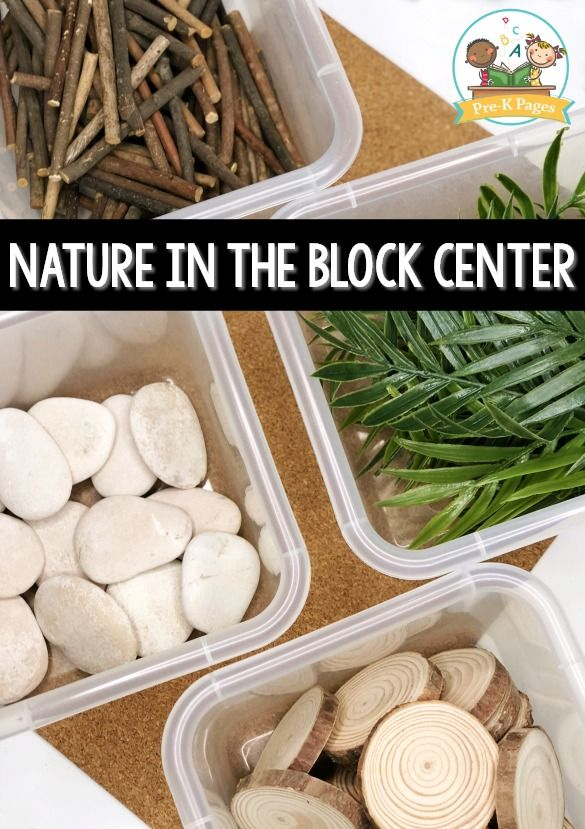 Natural Items in the Block Center. Incorporate natural materials in your blocks center. #preschool