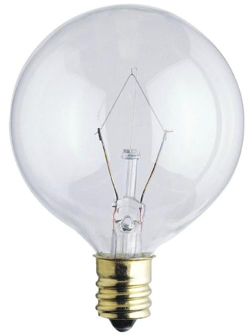 40 Watt G16 1/2 Incandescent Light Bulb, 2650K Clear E12 (Candelabra) Base, 120 Volt, Card (2-Pack)