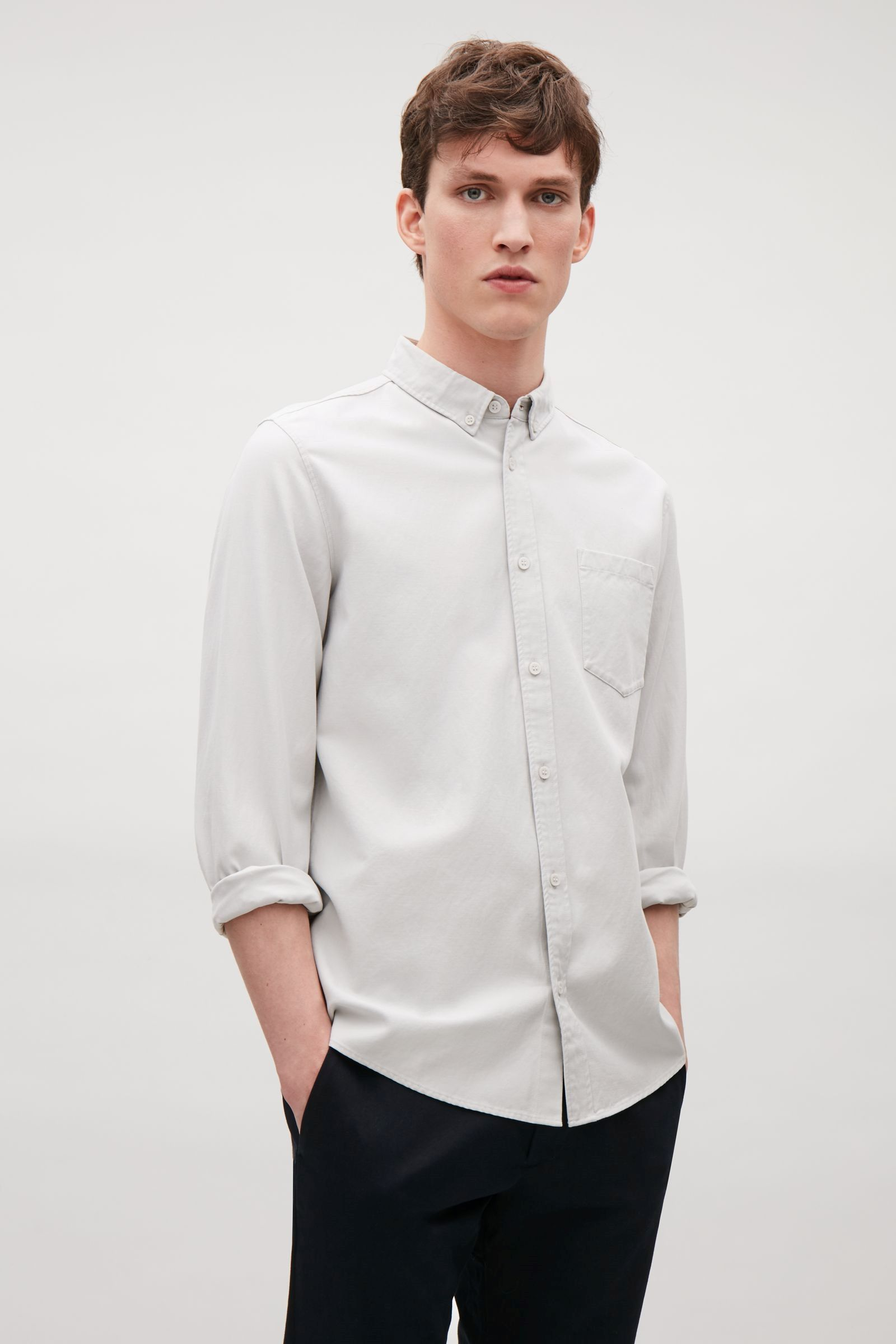 COS image 11 of Button collar shirt in Light Grey