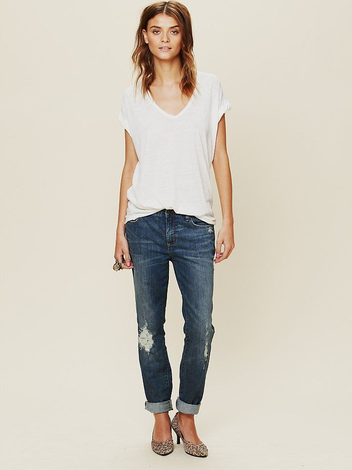 Free People High Rise Patched Menswear Skinny, $98.00