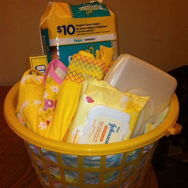 Creating color themed baby shower baskets! I did this one myself ;-) I love yellow!